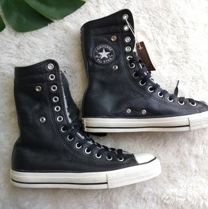 Converse leather and Sherpa high tops